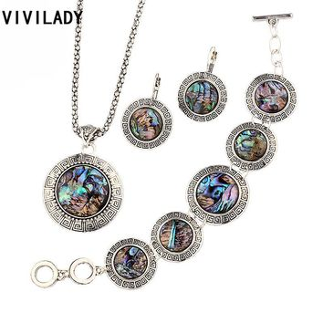 VIVILADY Natural Abalone Shell Jewelry Sets Women OL Vintage Silver Color Chain Necklaces Earrings Bracelet Wedding Bijoux Gift