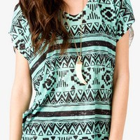 Tribal Print Burnout Top