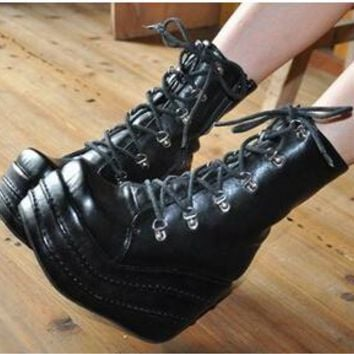 Black Butler Ciel Phantomhive Kuroshitsuji cosplay Platform uniform shoes boots lolita punk girls party shoes