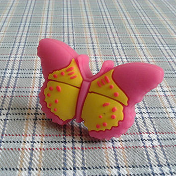 Kids Dresser Knobs / Childrens Drawer Knobs / Baby Girls Butterfly Knobs Pink Yellow Red / Animal Cartoon Cabinet Knob Pulls Handles