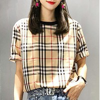 Burberry New fashion plaid women top t-shirt