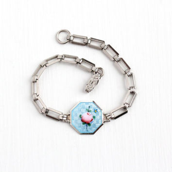 Vintage Sterling Silver Guilloche Enamel Rose Flower Bracelet - Art Deco 1920s Baby Blue & Pink Floral Motif Octagonal Charm Panel Jewelry