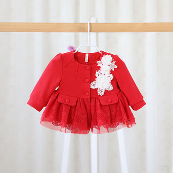 The fall of 2016 New Girls Sweet coat infant children princess in the long lace cardigan jacket  girls dot clothes baby