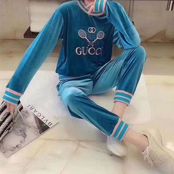 """Gucci"" Women Fashion Pattern Letter Print  Long Sleeve Trousers Set Two-Piece Sportswear"