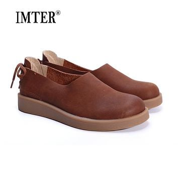 Women Shoes Flat 100% Authentic Leather Ladies Flat Shoes Round Toe Mary Jane Flats Female Footwear (1023-1)