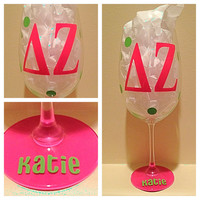 Delta Zeta, DZ, Personalized Wine Glass, Sorority Wine Glass, Custom Wine Glass, Big WIne Glass, Little Wine Glass