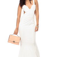 White Plunging Low Back Mermaid Tail Maxi Dress