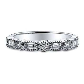 0.4 Carat Rhodium Plated Sterling Silver Cubic Zirconia CZ Art Deco Anniversary Half Eternity Ring