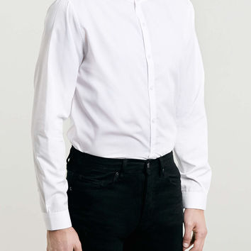White Stand Collar Smart Long Sleeve Shirt - Men's Shirts - Clothing - TOPMAN