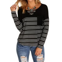 Sale-black Striped Top