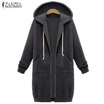 ZANZEA Women 2017 Autumn Winter Casual Long Hoodies Sweatshirt Coat Zip Up Outerwear Hooded Jacket Plus Size Outwear Tops