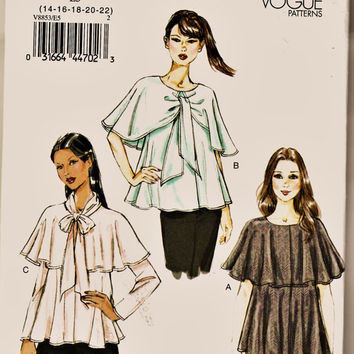 Vogue Pattern 8853 Graceful & Romantic Caped Top PLUS SiZe 14-22 Uncut FF Loose Fitting Women's Blouse Sewing Patterns Supplies