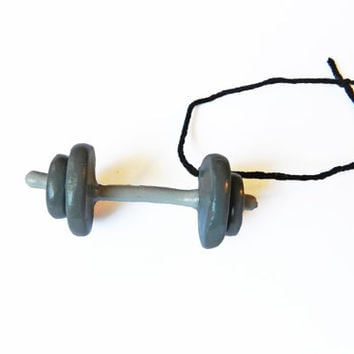 Dumbbell Ornament - Christmas Ornament - Polymer Clay Ornament - Barbell Ornament - Weightlifting Ornament - Workout Ornament  Gray Ornament