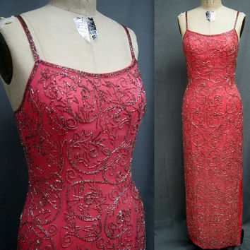 Vintage 90s BEADED SILK Chiffon GOWN Formal Dress Homecoming Prom Cocktail Party Shrimp Pink Bust 35""