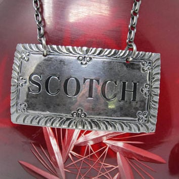 Vintage Stieff Scotch Decanter Tag - Sterling Silver Liquor Labels Bottle - Decanter Charm - Retro Barware Metal Chain Scotch Tags