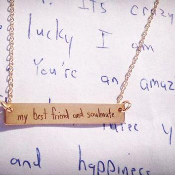 "Your Handwriting, Handwritten Bar Necklace (1.2"" x .2"") Rose Gold Yellow Gold Sterling Silver Personalized, Custom, Unique, Bridesmaid"