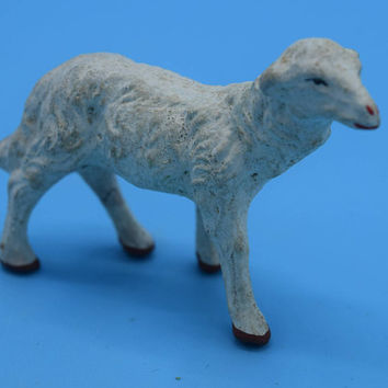 Chalkware Japan Standing Sheep Vintage White Plaster Lamb Figurine Nativity Animal Replacement Figurine Miniature Lamb Sheep Christmas Decor