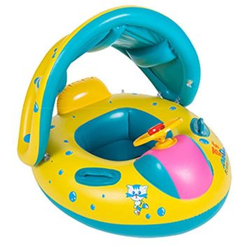 Kids Swimming Ring Yacht Portable Summer Safety Inflatable Baby Swim Pool Toy Adjustable Sunshade Seat Float Boat Water Sports