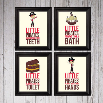 Little pirates always take a bath, Kids Decor, pirates bathroom decor, bathroom rules pirates, bathroom decor, little pirates bedroom art