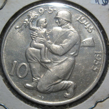 1955 Czechoslovakia Ten Korun Silver Coin KM # 42 Commemorating the 10th Anniversary of the End of  Fighting in Europe WW II