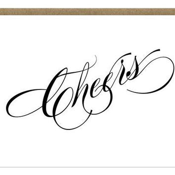 Cheers Letterpress Greeting Card | script black and white