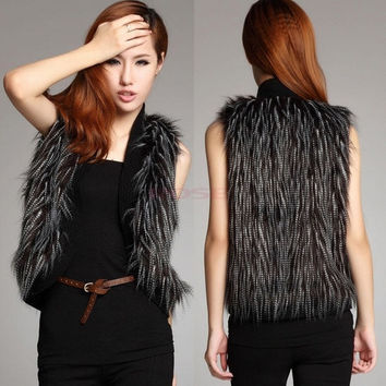 New Arrival Gilet Faux Fur Women's Coat Outerwear Waistcoat Short Jacket Vest New Sexy SV006197 (Size: L, Color: Black) = 1932551300