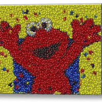 Framed Sesame Street Elmo M&Ms Candy incredible Mosaic Limited Edition Art Print