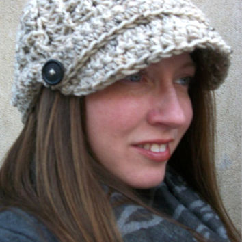 Slouchy Newsboy Beanie Brimmed Hat Womens Brim Slouch Cap Buttons Oatmeal Beige