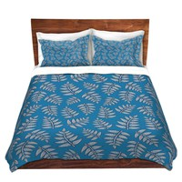 DiaNoche Designs Microfiber Duvet Covers Julia Grifol - Kenia Leaves Blues