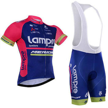 2016 New Team Lampre Comfortable 100% Polyester Breathable Bike Jerseys/Quick-Dry Brand Cycling Jerseys For man