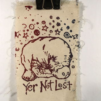Yer not lost aka space manatee canvas patch
