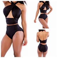 NEW Women Sexy Monokini Halter High Waist Bikini Set Bandage Swimwear Swimsuit