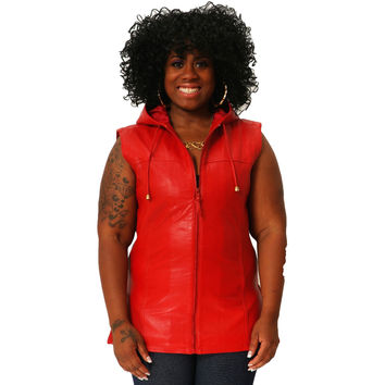 Womens Leather Shirt Red Hoodie Zip up Sleeveless Tee Sheepskin S - 6XL