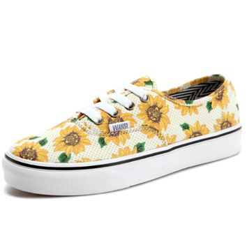 """Vans"" Casual Classic Shoes Retro  low tops Shoes sunflower yellow print"