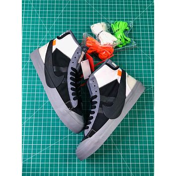Off White X Nike Blazer Studio Mid Wolf Grey Black Sneakers Aa3832-001 Shoes - Sale