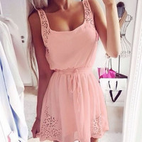 New Fashion Women Sleeveless Sundress Drawstring Waist Hollow Solid Casual Party Mini Slim Pleated Dress