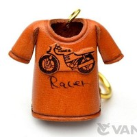 Racer Bike T-shirt Leather KH Keychain VANCA CRAFT-Collectible keyring Made in Japan