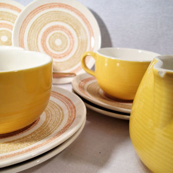 Max Schonfeld Sierra flat cups and creamer Mix Matched with vintage Orange and Yellow gold bread plates and saucers