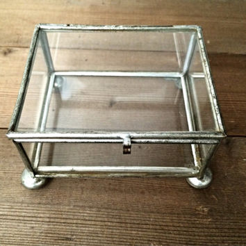 Glass Box - Terrarium Container - Metal and Glass Trinket Box - Urban Decor