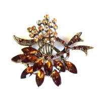 Magnet  Antique Gold Rhinestones Flower Bouquet Upcycled Brooch
