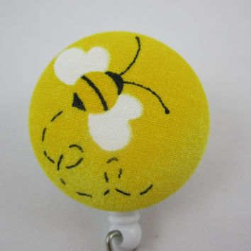 Yellow Bumble Bee Retractable Badge Holder Reel - Ladies - Swivel Alligator Clip