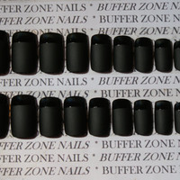 Hand Painted Press On False Nails, Black Matte & Shiny Tip, Short Length