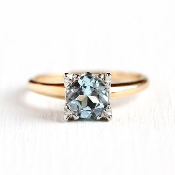 Sky Blue Topaz Ring - Vintage 14k Rosy Yellow & White Gold 1.08 Carat Solitaire - Size 6 1940s Fine Two Tone Light Blue Gemstone Jewelry