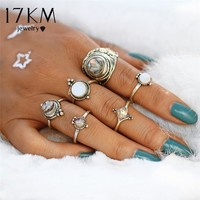 17KM Vintage Opal Rings for Women Fashion Big Stone Midi Knuckle Ring Set Antique Gold Color Statement Jewellery Party Gifts