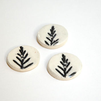 Cedar buttons,black white buttons,black pottery button,white black buttons,ceramic buttons,stoneware buttons,trio of buttons,woodland button
