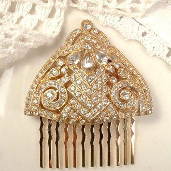 1920s - 1930s Art Deco Rhinestone Gold Bridal Hair Comb, TRUE Vintage Heirloom Triangle Fan Fur Clip to OOAK Haircomb Downton Abbey