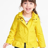Water-Resistant Peplum Rain Jacket for Toddler Girls | Old Navy