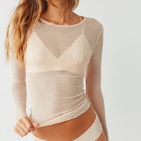 Out From Under Embellished Mesh Long Sleeve Top   Urban Outfitters