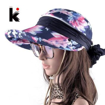PEAP78W Women's Outdoors Foldable Anti-UV Wide Brim Sun Hat Chapeu Feminino Adjustable Summer Visor Beach Cap Girls With Neck Protection