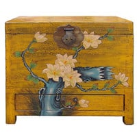 Chinese Yellow Floral Graphic Trunk Storage Chest Box cs1506S